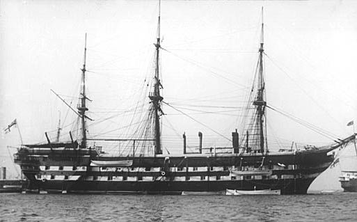 HMS Boscawen in 1905 on which Edward Saul served
