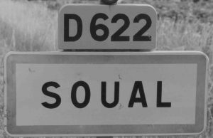 Road sign - SOUAL (Tarn) near Castres