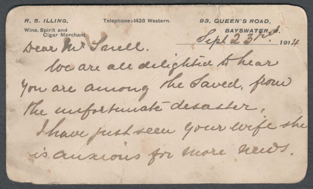 Postcard to Mr Saull Front