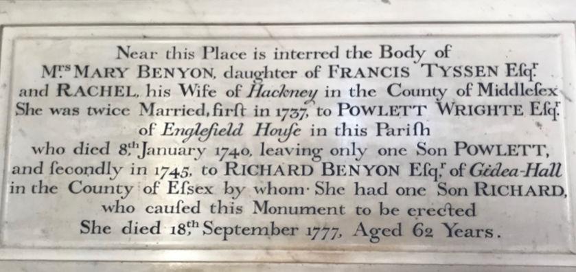 Benyon Memorial in Englefield Church