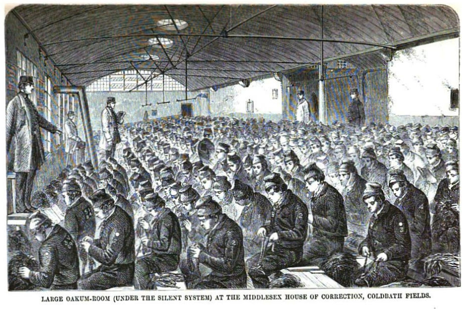 Prisoners picking oakum at Coldbath Fields Prison in London c. 1864.jpg