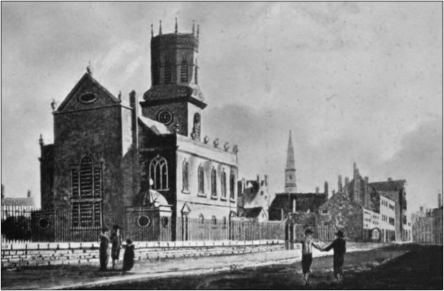 St Peter's Church, Liverpool in about 1800, where John Henry Sole was believed to be baptised. Drawn by W. H. Watts, Engraved by W. Green.