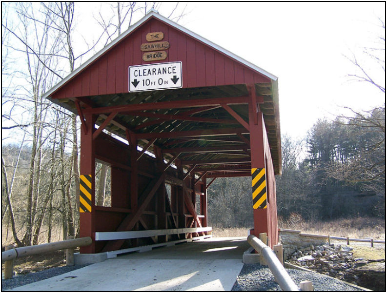 The Sawhill Covered Bridge is a historic covered bridge in Taylorstown, Pennsylvania. Joanne has been unable to find out which Sawhill it is named for.