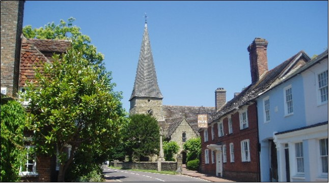 Lindfield High Street today, with All Saints in the background