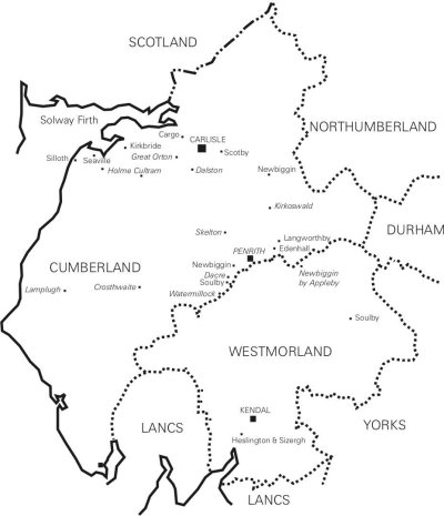 Map of Cumbria showing places mentioned in early documents. Places in italics indicate 16th century IGI events.