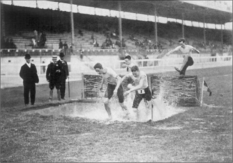 The water jump in the 1908 Olympic Steeplechase during a race