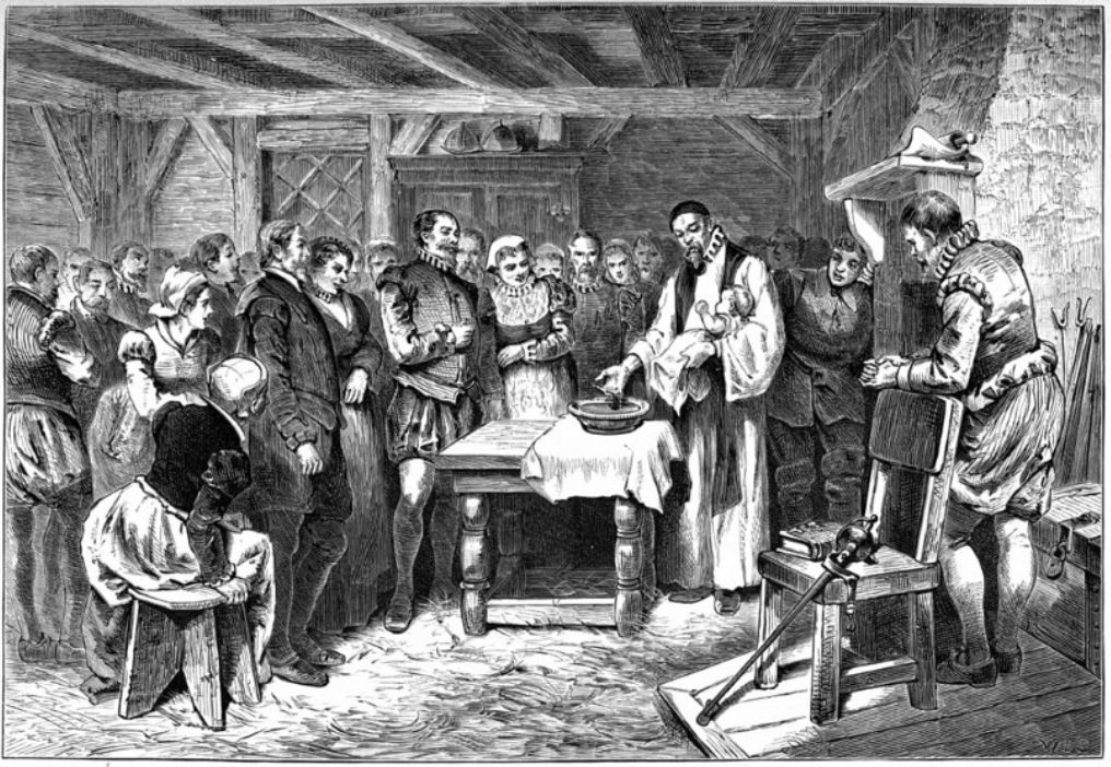 Baptism of Virginia Dare, lithograph by William A Crafts, 1876