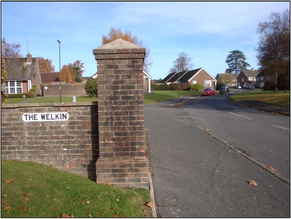 Today's entrance to The Welkin development from Hickmans Lane, thought to be land once owned by Francis Sewell