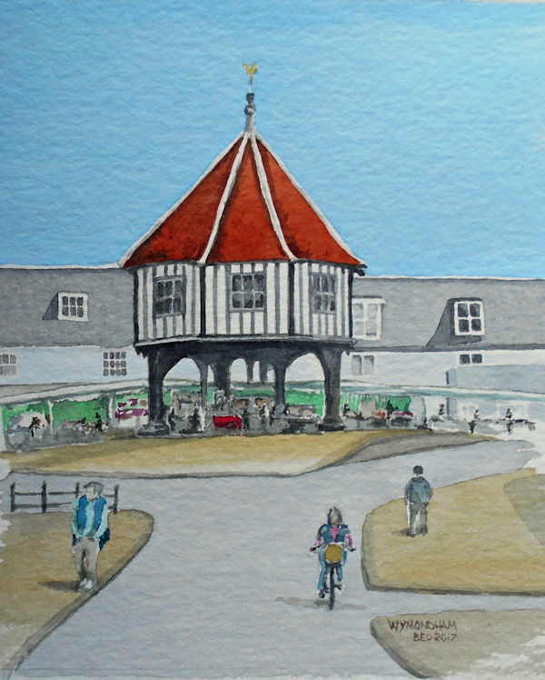 Wymondham Market Place. Water Colour by Brenda Ord
