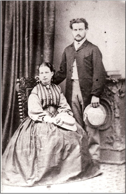 Charles Sole and Sarah Rayner on their wedding day, 1869