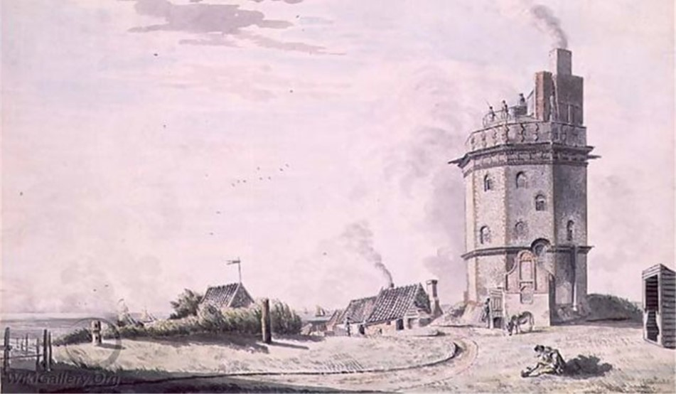 The North Foreland light painted by Heironymous Grimm about 1760