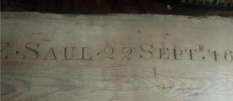 The inscription on the beam at the windmill at East Dereham in Norfolk